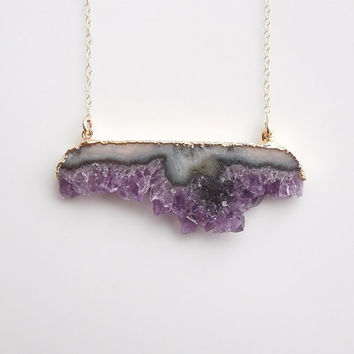 Druzy Amethyst Necklace - Stalactite Slice Style - February Birthstone - Large Size - BEST SELLER