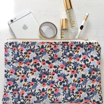Rifle Paper Company Floral Zip Pouch- Oil Pouch, Planner Pouch, Makeup Pouch, Zipped Pouch