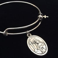 Patron Saint of the Impossible St. Rita Silver Expandable Bracelet Double Sided Adjustable Wire Bangle Catholic Medal Gift Trendy