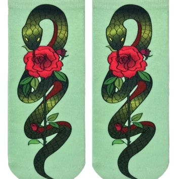 Snake With Rose Ankle Socks