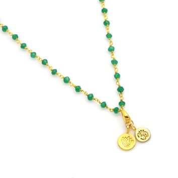 Yoga Charms Green Onyx Beaded Chain Necklace in Gold