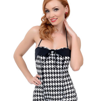 Vintage 1950s Style Pin-Up Black & White Houndstooth Bandeau One Piece Swimsuit