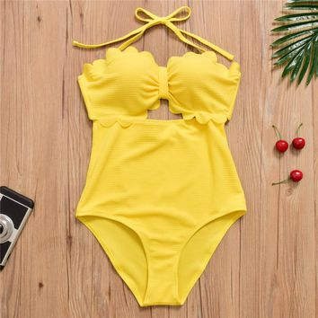 Halter Swimwear Women High Waist Bathing Suit Push Up One Piece Swimsuit Bodysuit Yellow Beachwear
