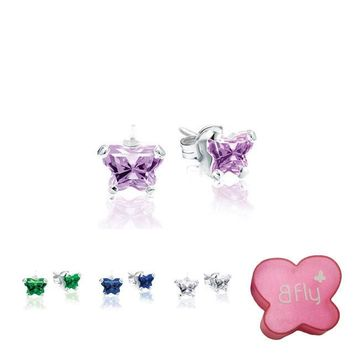 Sterling Silver Bfly® Butterfly Birthstone Youth Earrings w/ Friction Backs