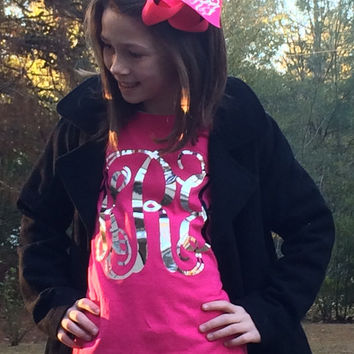 Silver Metallic Monogram T shirt with matching Monogrammed Hair Bow, Monogrammed gifts, Monogram T Shirt for Girls, Teens, Women