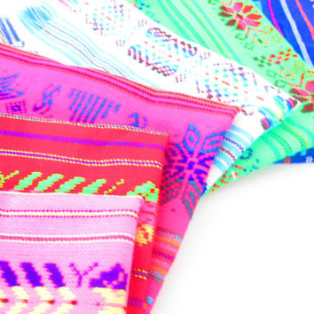 Mexican napkins, bulk set of 6. Assorted colors, Fiesta decor, woven napkins, boho chic linens, hippie decor, tribal kitchen, Mexican gifts