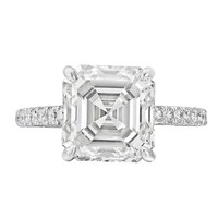 4.51 Carat Asscher-Cut Diamond Engagement Ring