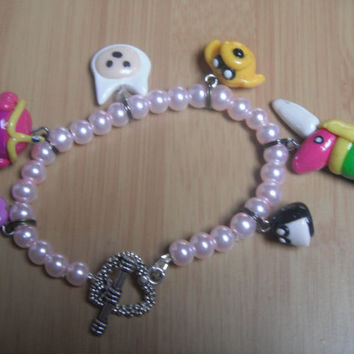 Adventure Time Charm Bracelet. Polymer Clay.