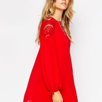 ASOS Lace Insert Swing Dress with Gathered Sleeves