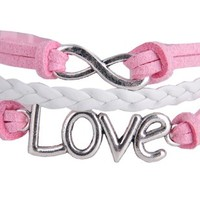 FENGSHANG Europe and America Ancients Love Eight Character Pattern Handcraft Knit Bracelet Pink & White Cosplay sky