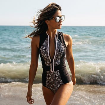One Piece Swimsuit Vintage Print Zipper Front Plus Size Swimwear Brazilian Bathing Suit Beach Wear Black