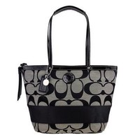 Coach Signature Stripe Lunch Shopper Bag Purse Tote 19046 Black White