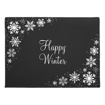 Snowflakes Black and White Happy Winter Doormat