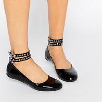 Daisy Street Multi Ankle Strap Black Flat Shoes at asos.com