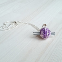 Small jewelry pendant: tiny ball of yarn with mini knitting needles, polymer clay, gift for knitterin