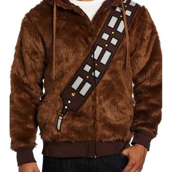 Star Wars High Quality Movie I Am Chewie Chewbacca Cosplay Furry Polyester Brown Costume Men Hoodie Jacket Coat
