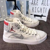 Best Online Sale Supreme x Nike Retro Air Jordan Sky High OG Mid White Red Grey Shoes Sport Basketball Shoes
