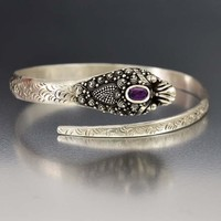 Genuine Purple Sapphire Silver Snake Bracelet Bangle