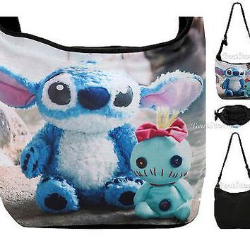 Licensed cool Disney Hawaii Lilo & Stitch Scrump Photo Real Hobo Bag Beach Tote Park Purse NEW