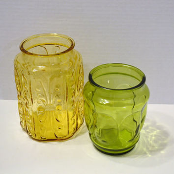 Pair of Vintage Pressed Glass Containers No Lids AMber Yellow Green Vase Craft Supply PanchosPorch
