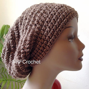Taupe Beanie | Slouchy Hat | Men or Women | Adult Crochet Beanie | SOFT | Brown Crochet Hat | Medium Brown Beanie | Brown Slouchy Beanie