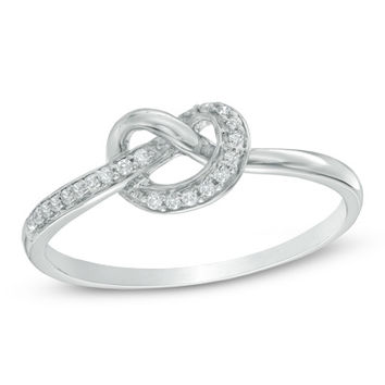 Diamond Accent Heart-Shaped Knot Ring in Sterling Silver