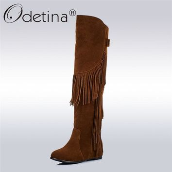 Odetina 2017 New Fashion Women Faux Suede Knee High Boots Fringe Tassels Ladies Winter Tall Boots Hidden Heel Shoes Big Size 43