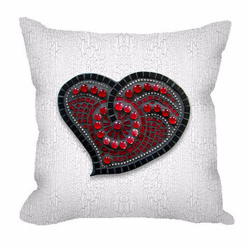Mosaic Red Heart Throw Pillow with white crackle background