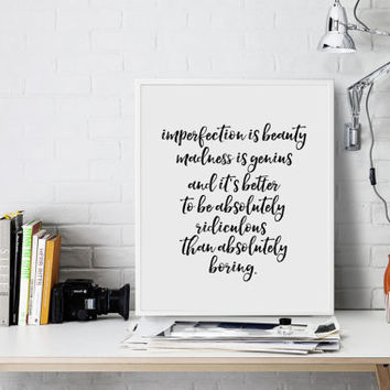 Marilyn Monroe Marilyn Monroe Quote Beauty Quote Life Quote Boring Quote Modernism Literary Poster Fashionista Fashion Print Typographic art