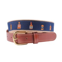 Whiskey Row Leather Tab Belt in Navy by Country Club Prep (Final Sale)