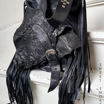 Black fringe studded hobo bag purse rocker purse  free people goth rocknroll gothic rockstyle rock star metalhead studs sweetsmoke