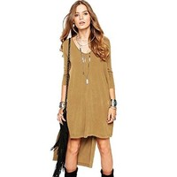 Women's Long Sleeve Casual Before Long After Short 3/4 Sleeve Vent Dress