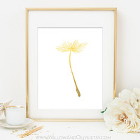 DANDELION 2 Faux Gold Foil Art Print - White & Gold - Gold Office Decor  - Imitation Gold Leaf - Girl Room Decor, Home Office Wall Art