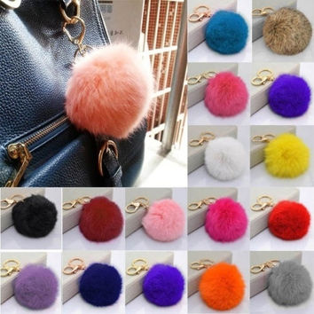 Rabbit fur ball plush key chain for car key ring Bag Pendant car keychain ztl = 1931438724