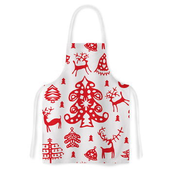 "Miranda Mol ""Frosted Landscape White"" Red Holiday Artistic Apron"