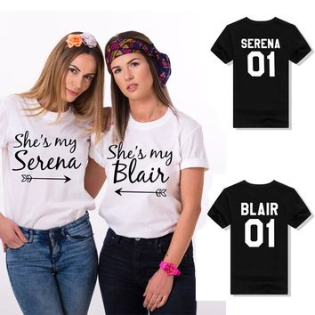 She's my Serena Blair 01 Girl Best Friends Bff T Shirt Cute Harajuku Hipster Women Tops Students Cotton Casual Shirt White Black