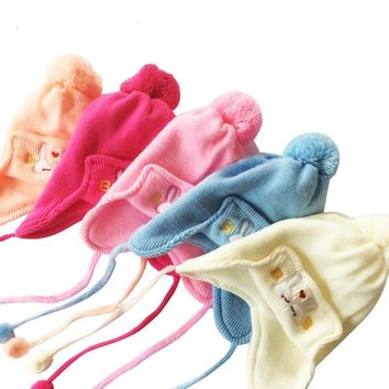 Brand Baby Hats Cotton Knitted Baby Hats For Newborns Winter Ear Flap Infant Hats Baby Winter Caps 0 to 3 months