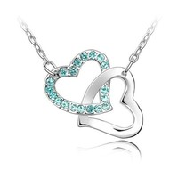Jewelry Heart to Heart Crystal Rhinestone Lover Choker Pendant Necklaces Chain for Women K034-4-48B