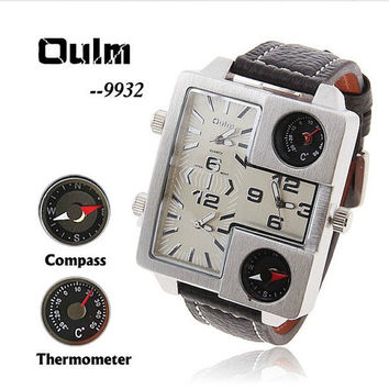 Oulm authentic watch machine core quartz watch, big dial thermometers compass military table, men's watch