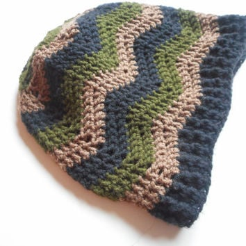 Chevron Striped Crochet Slouch Hat in Camo Combo, ready to ship.