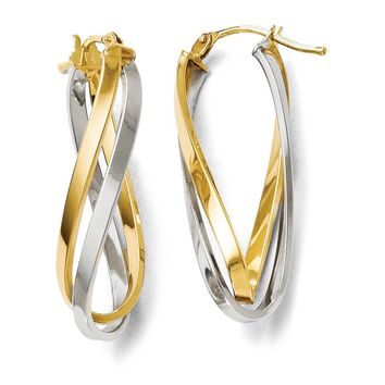 Polished Twisted Double Oval Hoop Earrings in 14k Two Tone Gold, 30mm