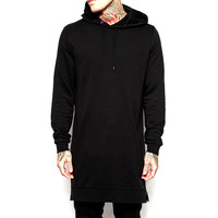 2017 Spring New Fashion Long Hooded Hoodies Men Hip Hop Style Streetwear Sweatshirts Men Casual Zipper Arc Cut Sportswear Hoodie