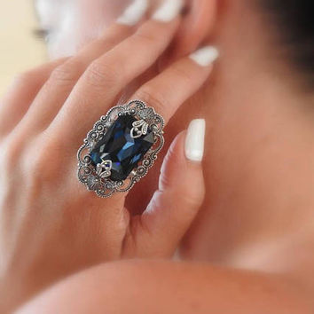 Montana Blue Statement Ring  Large Victorian Ring Swarovski Crystal Ring Silver Filigree Ring Victorian Gothic Ring Victorian Gothic Jewelry
