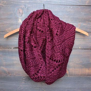 PEAPD5W knit leaf pattern infinity scarf (more colors)