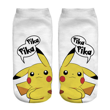 3D Printed Socks Women New Unisex Cute Low Cut Ankle Socks Women White Sock Women's Casual POKEMON pika Socks