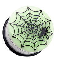 Glow in the Dark Spider Web Single Flared Ear Gauge Plug