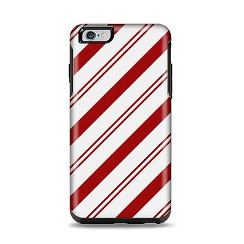 The Red and White Slanted Vector Stripes Apple iPhone 6 Plus Otterbox Symmetry Case Skin Set