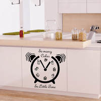 Wall Decals So Many Cakes so Little Time Alarm Cafe Kitchen Wall Decal Vinyl Sticker Wall Decor Home Interior Design Art Murals NA58
