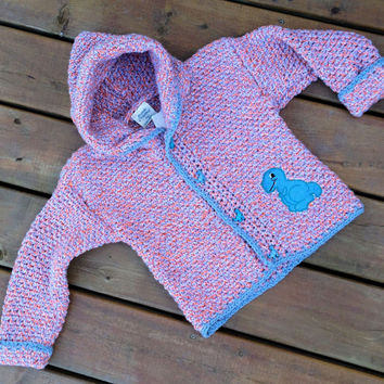 Children's Sweater Hoodie, Handmade Crochet dinosaur cardigan sweater with hood, Baby Sweater size 4