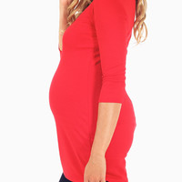 Red Textured 3/4 Sleeve Maternity Top